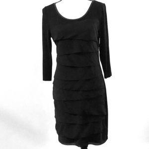 WHBM Black Tiered Layer Front Midi Dress